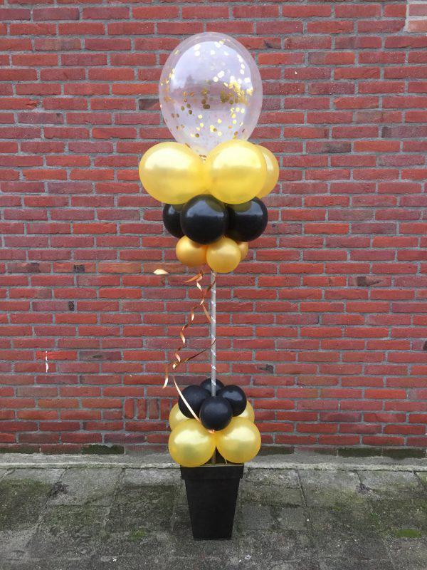 Ballonnen Pilaar led Bloempot goud zwart