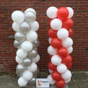 Ballonnenpilaren rood zilver wit
