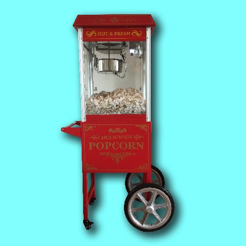 Popcornmachine met kar en led verlichting